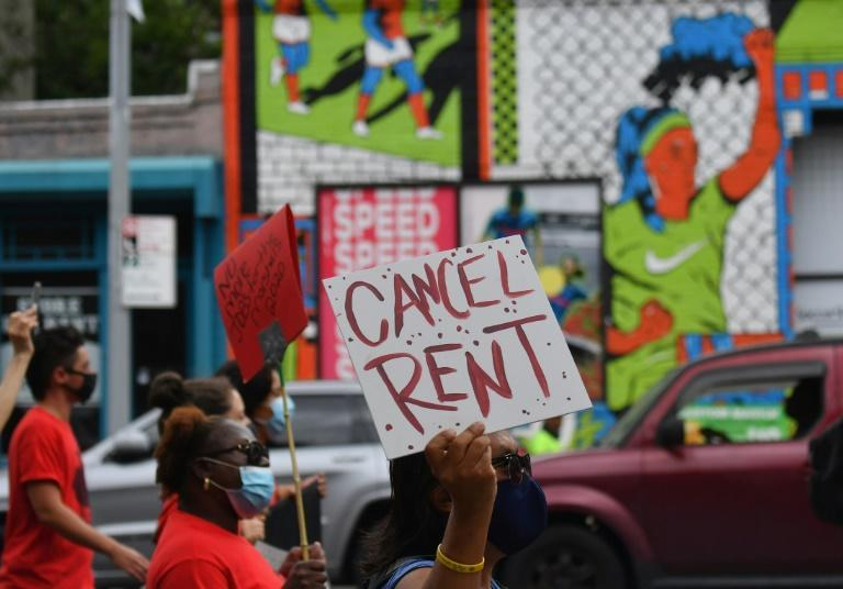 Protesters march against evictions in New York, in September 2020