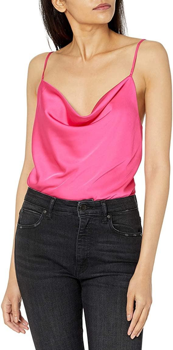 <p>This <span>The Drop Christy Cowl Neck Cami Silky Stretch Top</span> ($40) looks cute with a skirt.</p>
