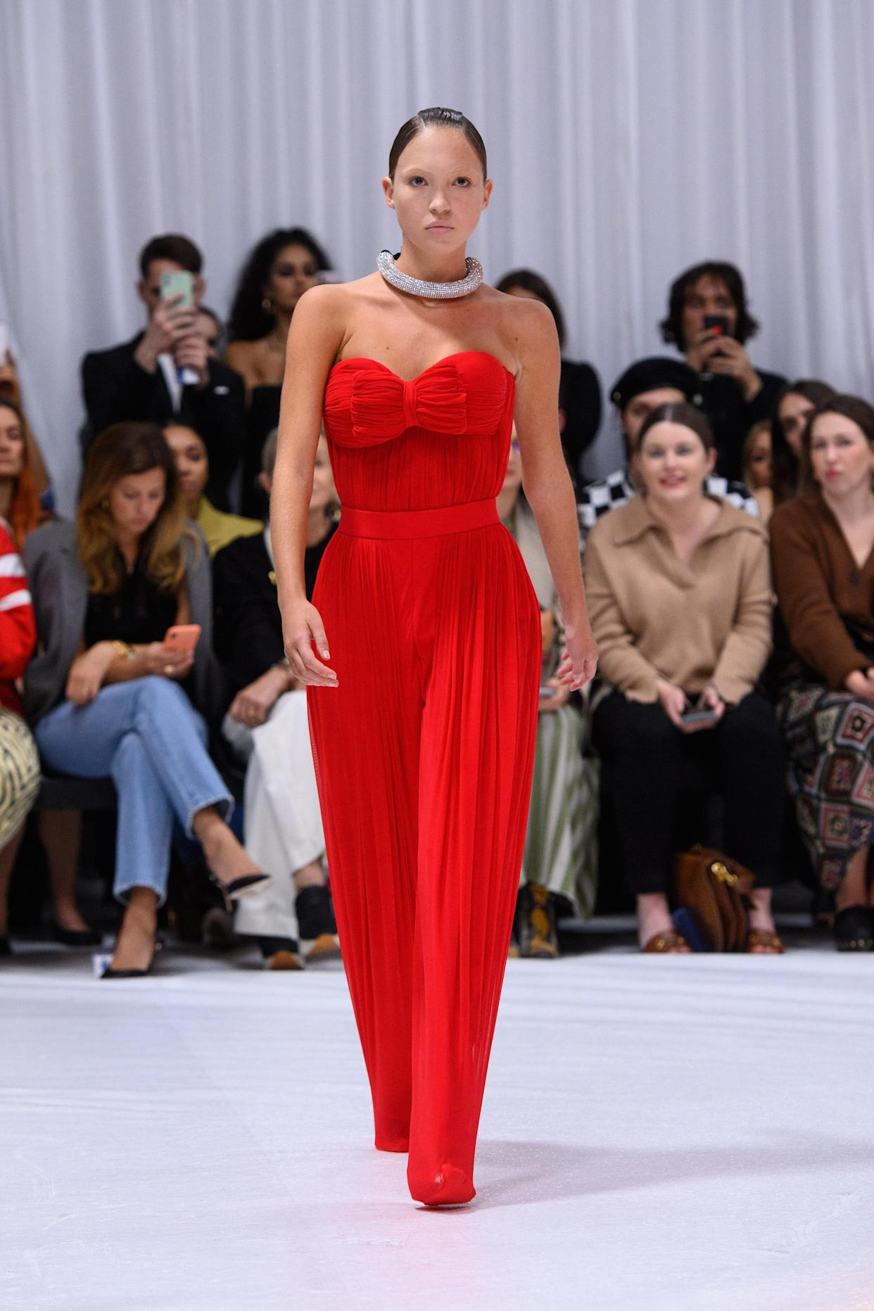 Model Lila Grace Moss Hack on the catwalk during the Richard Quinn fashion show, held at the Londoner hotel, as part of  London Fashion Week September 2021. Picture date: Tuesday September 21, 2021. Photo credit should read: Matt Crossick/Empics