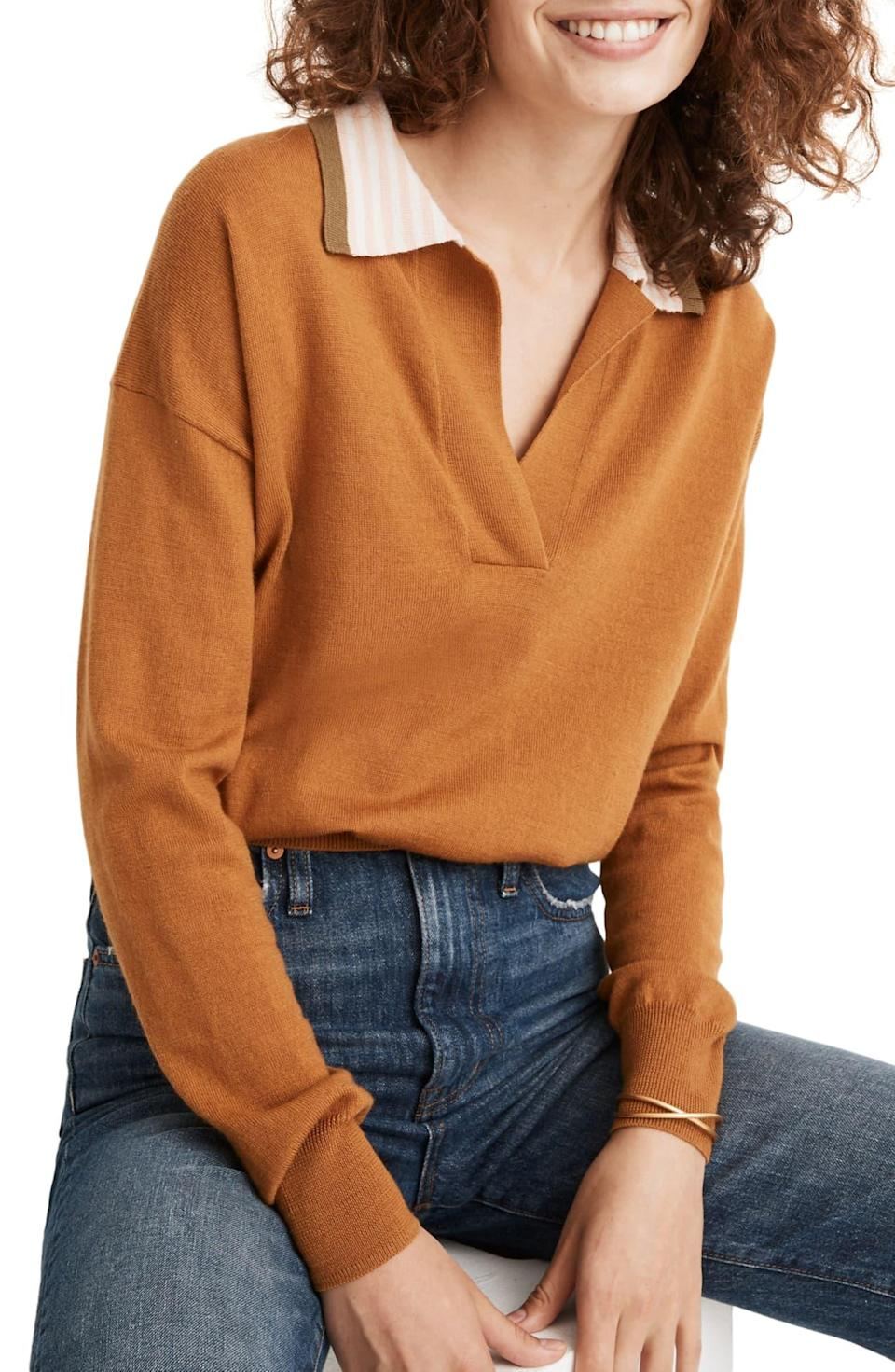 """<h2>Madewell</h2><br>Cardigans, sweaters, dresses, and more are all currently up to 65% off.<br><br>Shop <strong><em><a href=""""https://fave.co/399knWR"""" rel=""""nofollow noopener"""" target=""""_blank"""" data-ylk=""""slk:Madewell"""" class=""""link rapid-noclick-resp"""">Madewell</a></em></strong><br><br><strong>Madewell</strong> Colorblock Polo Sweater, $, available at <a href=""""https://go.skimresources.com/?id=30283X879131&url=https%3A%2F%2Fwww.nordstromrack.com%2Fs%2Fmadewell-colorblock-polo-sweater%2F5732456"""" rel=""""nofollow noopener"""" target=""""_blank"""" data-ylk=""""slk:Nordstrom Rack"""" class=""""link rapid-noclick-resp"""">Nordstrom Rack</a>"""