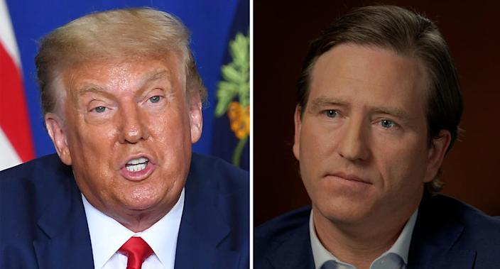 Donald Trump (left) and an image of Chris Krebs (right).