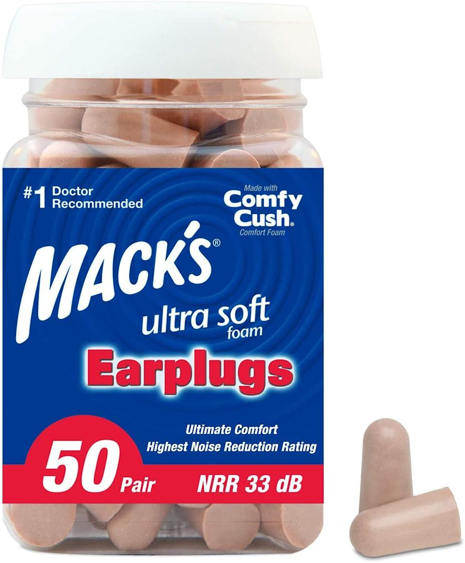 "<h3><h2>Mack's Ultra Soft Foam Earplugs, 50 Pair</h2></h3><br>They're cheap, and they work — most of the time, anyway. If ambient noise doesn't lull you to sleep, then try blocking out sound with the help of earplugs. (The squishier, the better.)<br><br><em>Shop</em> <a href=""https://www.wayfair.com/brand/bnd/highland-dunes-b44305.html"" rel=""nofollow noopener"" target=""_blank"" data-ylk=""slk:Mack's"" class=""link rapid-noclick-resp""><strong><em>Mack's</em></strong></a><br><br><strong>Mack's</strong> Ultra Soft Foam Earplugs, 50 Pair, $, available at <a href=""https://amzn.to/2Z1PmNC"" rel=""nofollow noopener"" target=""_blank"" data-ylk=""slk:Amazon"" class=""link rapid-noclick-resp"">Amazon</a>"