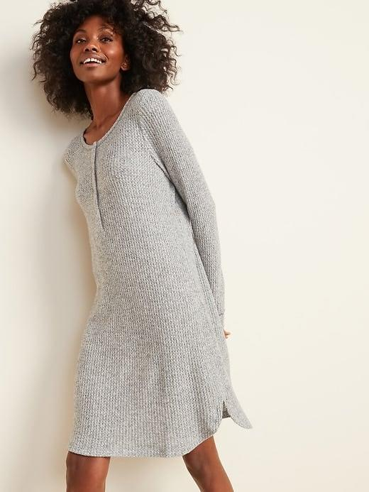 <p>When you've had enough of relaxing in pants or shorts, pick up this <span>Old Navy Cozy Thermal-Knit Henley Nightgown</span> ($30, originally $35) as a flowy alternative.</p>