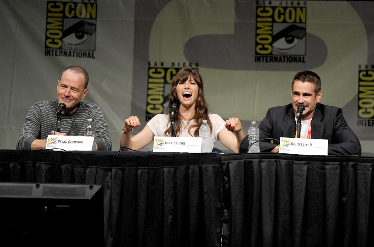"""SAN DIEGO, CA - JULY 13:  Actors Bryan Cranston, Jessica Biel, and Colin Farrell speak during Sony's """"Total Recall"""" panel during Comic-Con International 2012 at San Diego Convention Center on July 13, 2012 in San Diego, California.  (Photo by Kevin Winter/Getty Images)"""