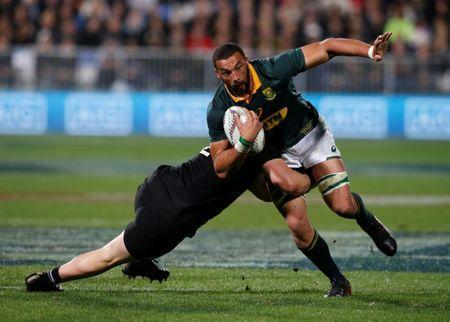 Rugby Union - Championship - New Zealand All Blacks vs South Africa Springboks - Auckland, New Zealand - September 16, 2017 South Africa's Uzair Cassiem runs through All Blacks defence. REUTERS/Nigel Marple
