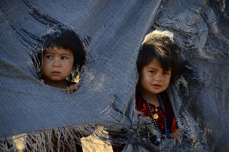 Drought-displaced Afghan children at a camp for internally displaced people in Herat province (AFP Photo/HOSHANG HASHIMI)