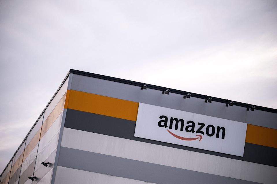 <p>Picture shows Amazon's logo on the company's premises in Brandizzo, near Turin</p> (AFP via Getty Images)