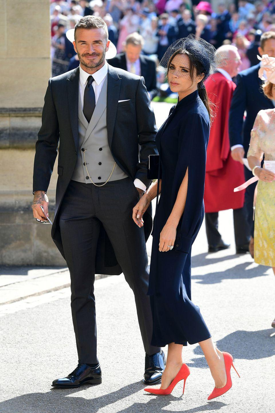 """<p>Posh and Becks attended both William and <a rel=""""nofollow noopener"""" href=""""https://www.townandcountrymag.com/society/tradition/g18737078/prince-harry-meghan-markle-royal-wedding-guest-list/"""" target=""""_blank"""" data-ylk=""""slk:Harry's"""" class=""""link rapid-noclick-resp"""">Harry's </a>weddings, so it's likely that we'll see them again in October. In addition to the family's ties to the royals, the Beckham's wedding planner is also <a rel=""""nofollow noopener"""" href=""""https://www.thetimes.co.uk/edition/news/princess-eugenie-and-jack-brooksbank-to-wed-it-like-beckham-in-two-day-bash-kdnhgszhc"""" target=""""_blank"""" data-ylk=""""slk:reportedly"""" class=""""link rapid-noclick-resp"""">reportedly</a> helping with Princess Eugenie and Jack Brooksbank's big day. </p>"""