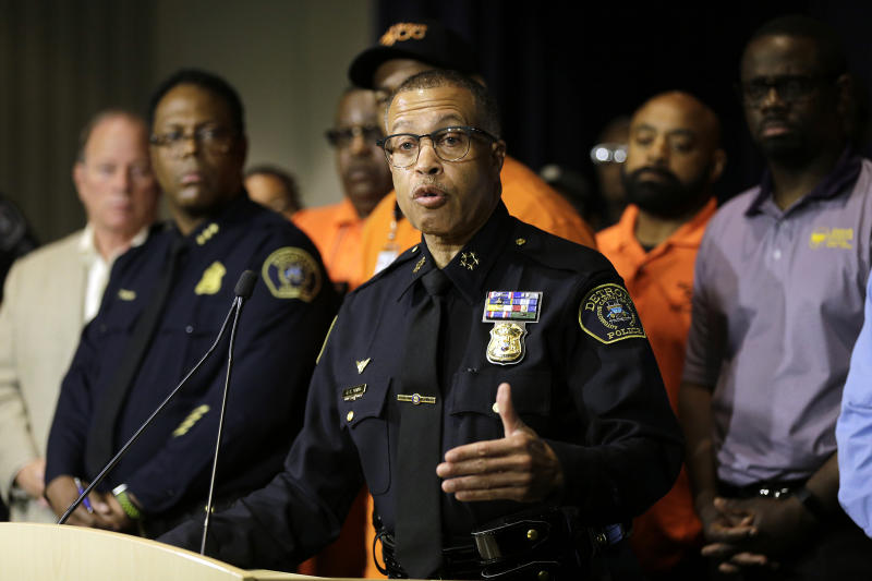 "Detroit Police Chief James Craig answers questions during a press conference, Friday, June 7, 2019, at the Detroit Police Headquarters in Detroit, addressing the police response to a possible serial killer. Investigators believe a ""serial murderer and rapist"" targeting prostitutes is at large in Detroit. (Kimberly P. Mitchell/Detroit Free Press via AP)"