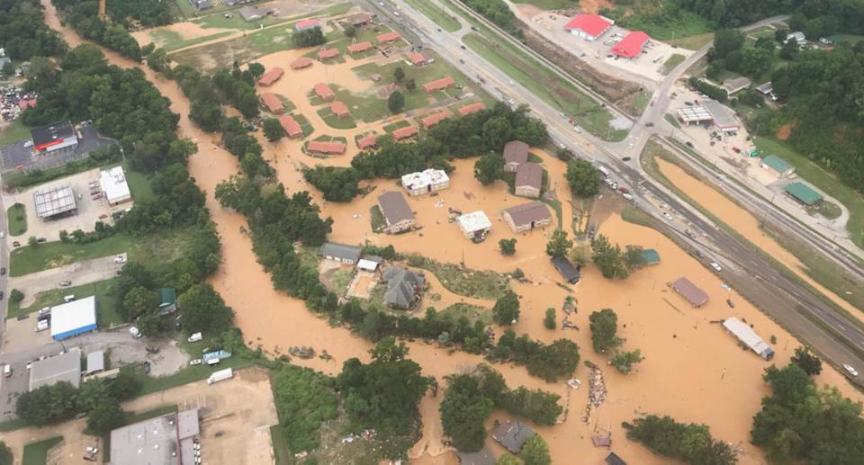 In this aerial image provided by the Nashville Fire Department, flash flooding is seen on August 21, 2021 in Waverly, Tennessee. Source: Getty Images
