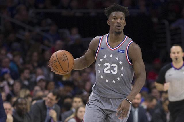 Newly acquired Jimmy Butler makes his home debut for Philadelphia in the 76ers' win over the Utah Jazz (AFP Photo/Mitchell Leff)