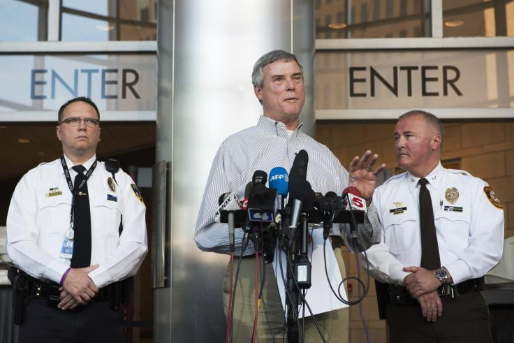 St. Louis County Prosecuting Attorney Robert McCulloch announces an arrest in connection with the shooting of two police officers in Ferguson. (Kate Munsch/Reuters)