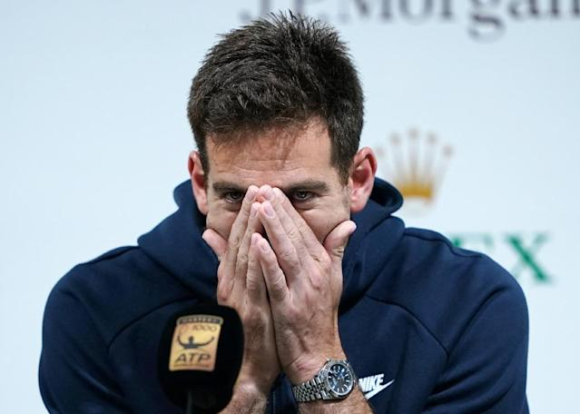 Argentina's under-the-weather Juan Martin del Potro laboured into the Shanghai Masters last 16 on Wednesday (AFP Photo/Johannes EISELE)