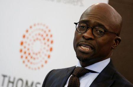 South Africa's Finance Minister Malusi Gigaba speaks during the Thomson Reuters economist of the year awards