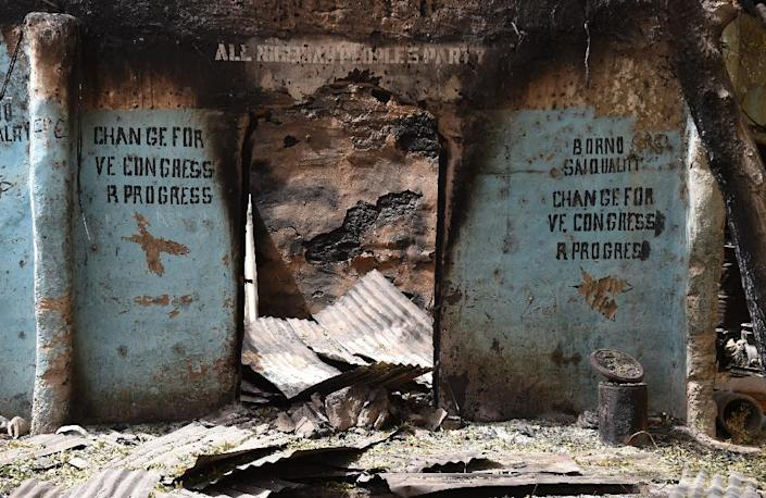 A burnt out shop is seen on April 3, 2015 in Malam Fatori, in northeastern Nigeria, which was retaken from Islamist Boko Haram militants (AFP Photo/Philippe Desmazes)