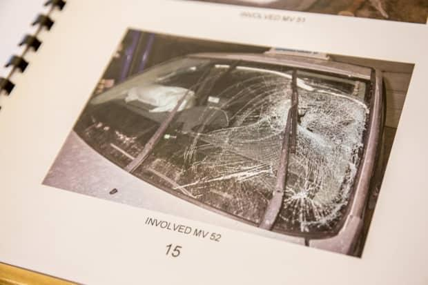 The snowmobile collided with this taxi, with its driver testifying during Whittle's trial that he had pulled over when he saw the snowmobile coming towards his vehicle on a narrow bridge, with he and his passenger bracing for impact.