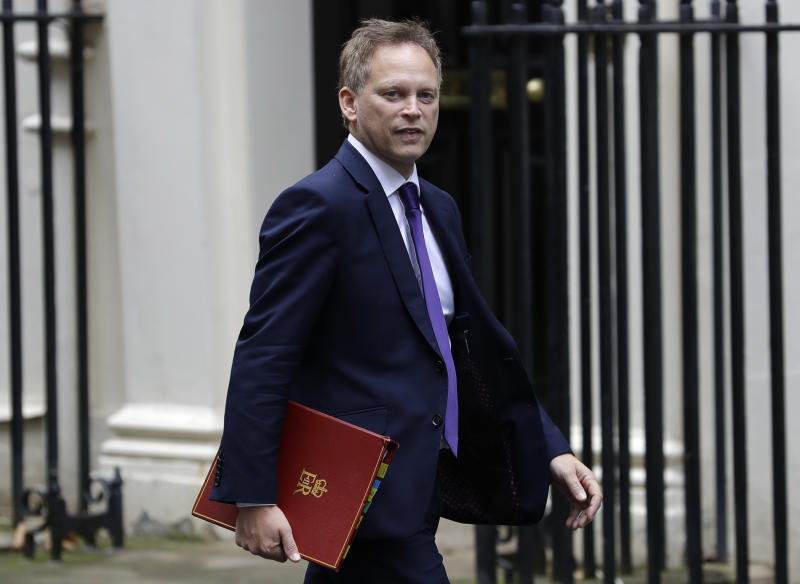 Britain's Secretary of State for Transport Grant Shapps arrives for a Cabinet meeting at 10 Downing Street in London, Wednesday, Oct. 16, 2019. The European Union's chief Brexit negotiator says talks between the EU and Britain on the country's departure from the bloc are continuing after running through the night but that obstacles remain. (AP Photo/Kirsty Wigglesworth)