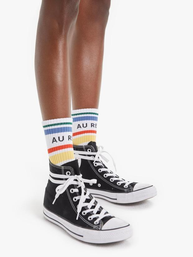"<p>""I'm a sucker for <a href=""https://www.popsugar.com/fashion/cute-slogan-socks-47716042"" class=""link rapid-noclick-resp"" rel=""nofollow noopener"" target=""_blank"" data-ylk=""slk:kitschy socks"">kitschy socks</a> and these <span>Mother Baby Steps Au Revoir Socks</span> ($24) are perfect to pair with boots or sneakers.""</p>"
