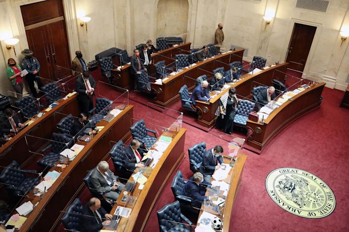 March 10, 2021; Little Rock, Arkansas, USA; Senator Joyce Elliott during a session at the Arkansas General Assembly. Credit: Nelson Chenault