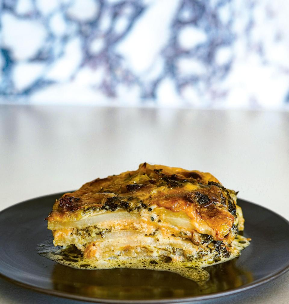 """<a href=""""https://www.epicurious.com/recipes/food/views/potato-leek-and-kale-gratin-with-too-much-cheese?mbid=synd_yahoo_rss"""" rel=""""nofollow noopener"""" target=""""_blank"""" data-ylk=""""slk:See recipe."""" class=""""link rapid-noclick-resp"""">See recipe.</a>"""