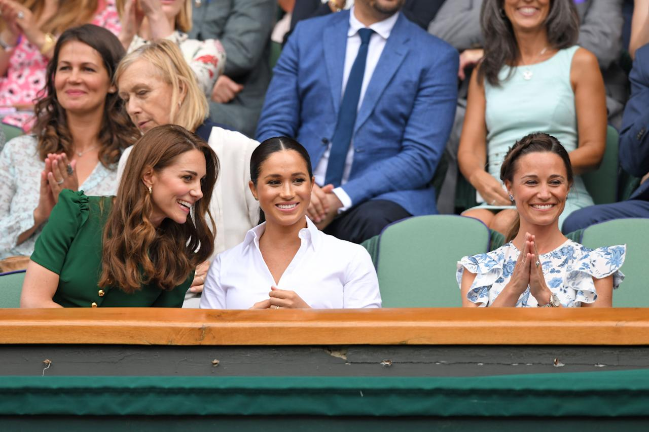 "<p>Catherine, Duchess of Cambridge, and Meghan, Duchess of Sussex, stepped out together for the Wimbledon women's singles final on July 13. While <a href=""https://www.harpersbazaar.com/celebrity/latest/a28381944/kate-middleton-meghan-markle-wimbledon-green-dress/"" target=""_blank"">Duchess Kate</a> looked chic in a green Dolce & Gabbana dress, <a href=""https://www.harpersbazaar.com/celebrity/latest/a28381896/meghan-markle-kate-middleton-wimbledon-white-shirt-skirt/"" target=""_blank"">Duchess Meghan</a> wore a smart Hugo Boss skirt. The duchesses were joined by Kate's sister, <a href=""https://www.harpersbazaar.com/celebrity/latest/a28376696/pippa-middleton-yellow-dress-wimbledon-2019/"" target=""_blank"">Pippa Middleton</a>, and all three women looked to be having the best time in the <a href=""https://www.harpersbazaar.com/celebrity/latest/a28384732/pippa-middleton-wimbledon-2019-meghan-markle-kate-middleton/"" target=""_blank"">Royal Box</a>. Meghan was, of course, supporting her good friend <a href=""https://www.harpersbazaar.com/celebrity/latest/a28378570/serena-williams-meghan-markle-negative-media/"" target=""_blank"">Serena Williams</a>, who was playing against Simona Halep. Here, we take a look at the best photos of Meghan and Kate's joint appearance at Wimbledon 2019.</p>"