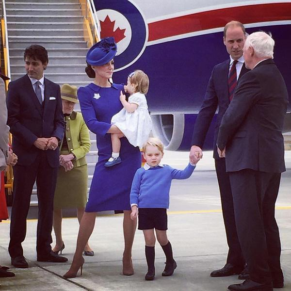 <p>According to royal protocol, two heirs shouldn't fly on the same flight together, to protect the royal lineage in case there's an accident. Morbid, but … practical? Prince William has defied this order on previous occasions, such as when he and the Duchess of Cambridge took George and Charlotte on a tour of Canada last year. (Photos: Getty Images) </p>