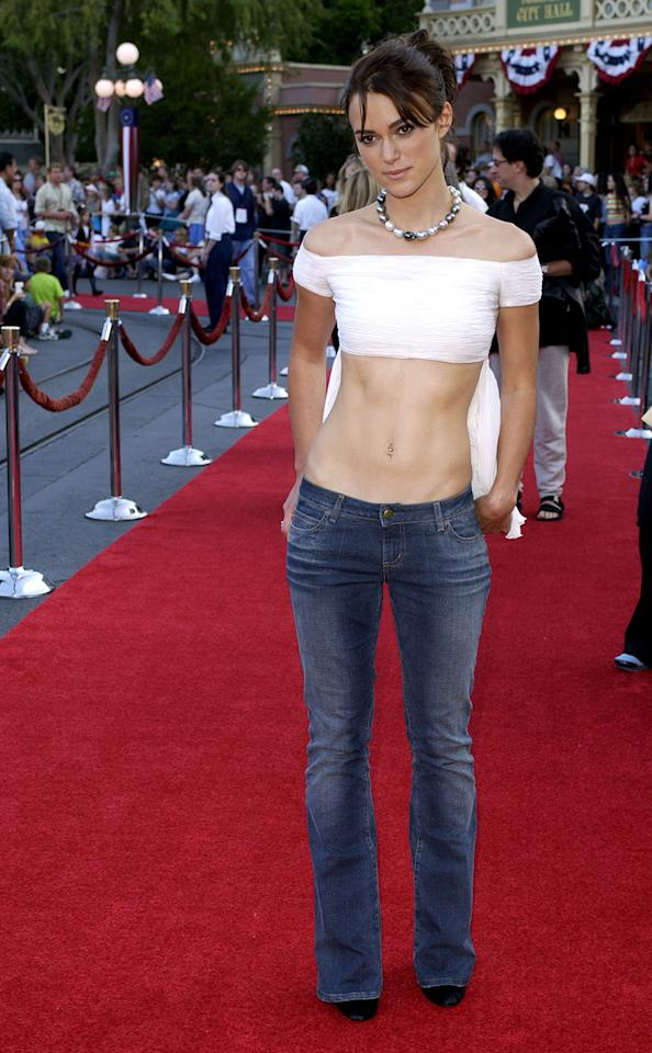 "Keira Knightley, who has won previous Golden Globes and stars in the Best Cinematography-nominated film ""Anna Karenina,"" is a fashion favorite and the face of Chanel. But one of her first red carpets for ""Pirates of the Caribbean"" was a world away from her current style. Instead of a gown, the actress wore a micro crop top with low-rise jeans. Her jewelry included a belly button ring."