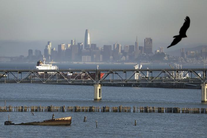 From Point Richmond you can look across San Francisco Bay to San Francisco.