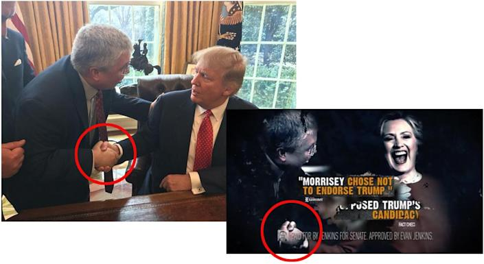 Original photo supplied by the Morrisey campaign, left, and the Photoshopped version as seen in the Jenkins campaign ad.