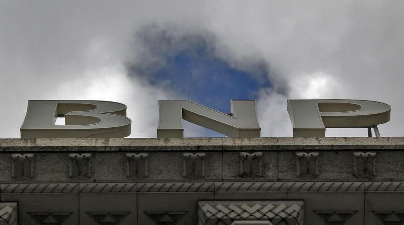 A part of the logo of the BNP Paribas bank is seen on the rooftop of their Paris headquarters