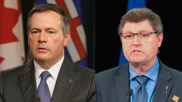 Alberta Premier Jason Kenney and Indigenous Relations Minister Rick Wilson announced funding Wednesday for research into burial sites at former residential schools in Alberta. (Art Raham/CBC / Government of Alberta - image credit)