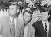 <p>John, Robert, and Senator Edward Kennedy together in Hyannis Port. </p>
