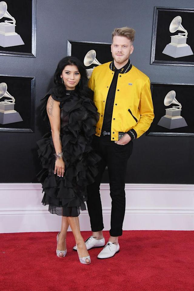 <p>Kirstin Maldonado and Scott Hoying of the group Pentatonix attend the 60th Annual Grammy Awards at Madison Square Garden in New York on Jan. 28, 2018. (Photo: John Shearer/Getty Images) </p>