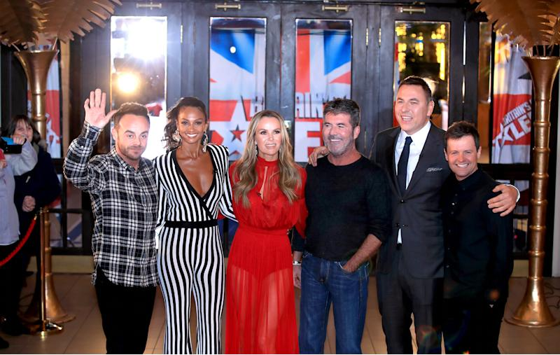 Ant McPartlin (left to right), Alesha Dixon, Amanda Holden, Simon Cowell, David Walliams, and Declan Donnelly at the BGT Photocall. (PA)