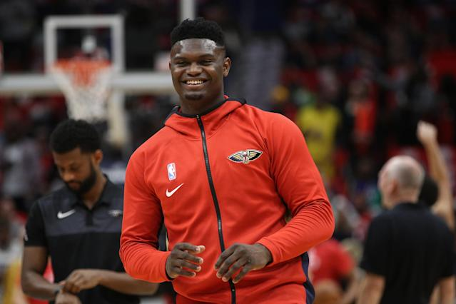 Zion Williamson impressed perhaps the best to ever play the game in his NBA debut on Wednesday night. (Chris Graythen/Getty Images)