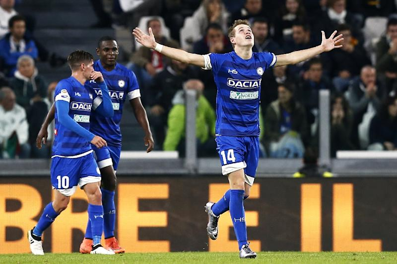 Jakub Jankto celebrates after putting Udinese ahead against Juventus on October 15, 2016 in Turin (AFP Photo/Marco Bertorello)