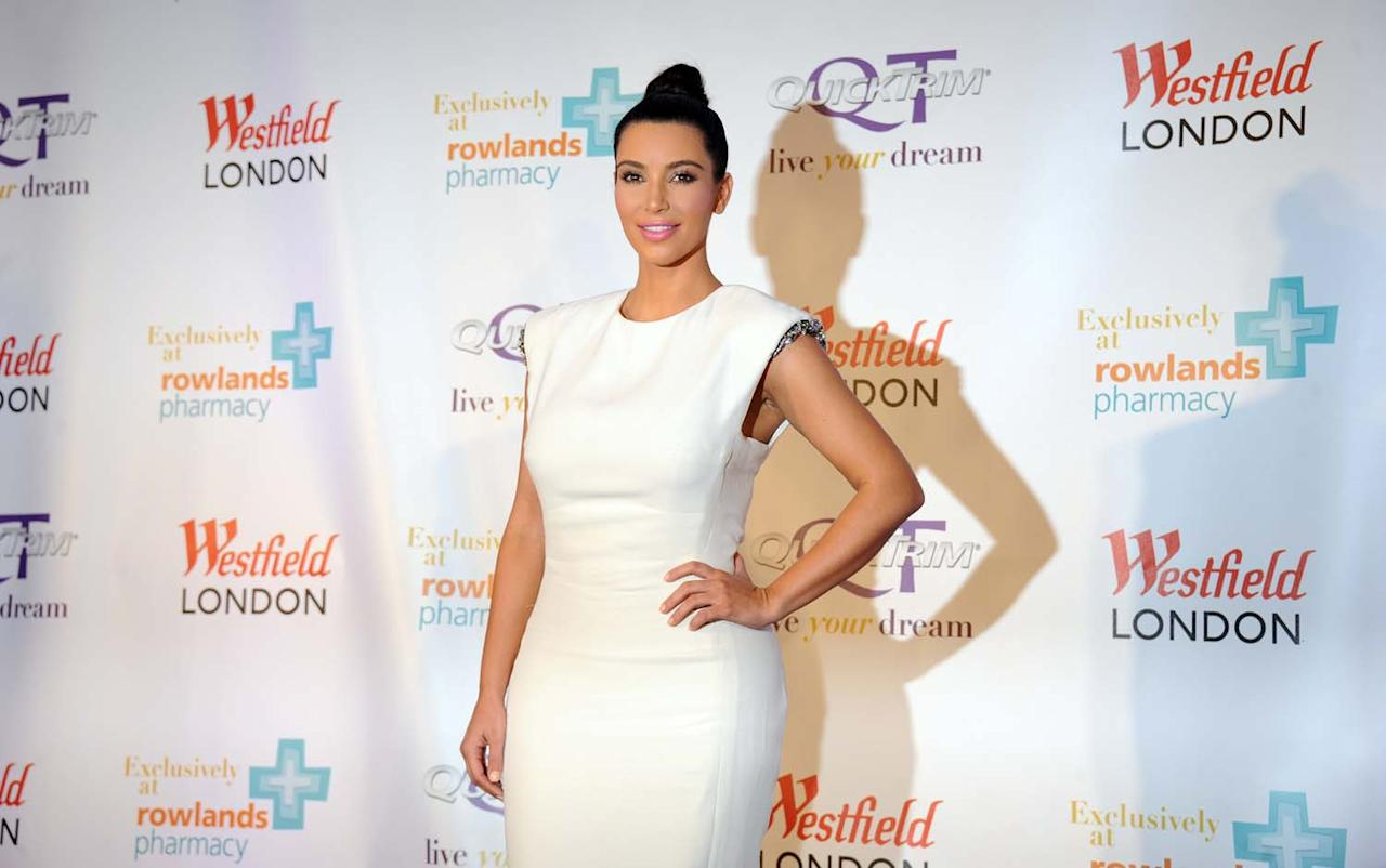 LONDON, UNITED KINGDOM - MAY 19: Kim Kardashian celebrates the launch of her weight management product 'QuickTrim' at Westfield on May 19, 2012 in London, England. (Photo by Stuart Wilson/Getty Images)
