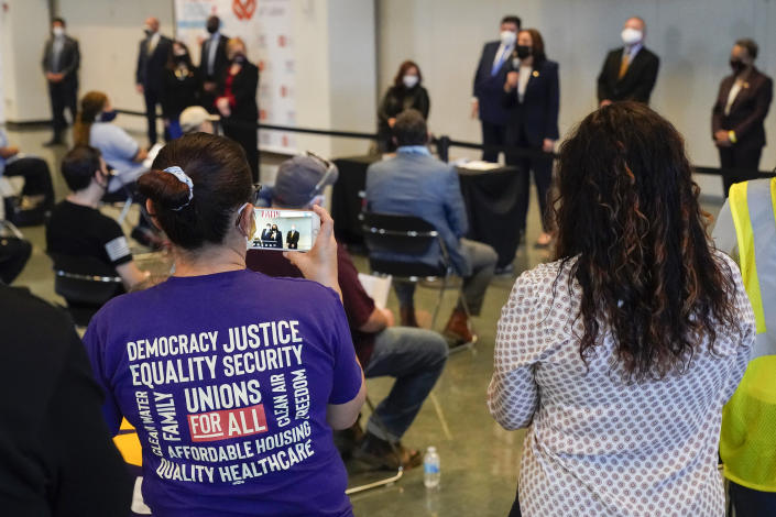 Vice President Kamala Harris speaks during a visit to a COVID-19 vaccination site Tuesday, April 6, 2021, in Chicago. The site is a partnership between the City of Chicago and the Chicago Federation of Labor. (AP Photo/Jacquelyn Martin)