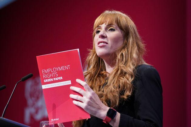 Labour deputy leader Angela Rayner speaks at the Labour Party conference in Brighton. (Photo: Stefan Rousseau - PA Images via Getty Images)