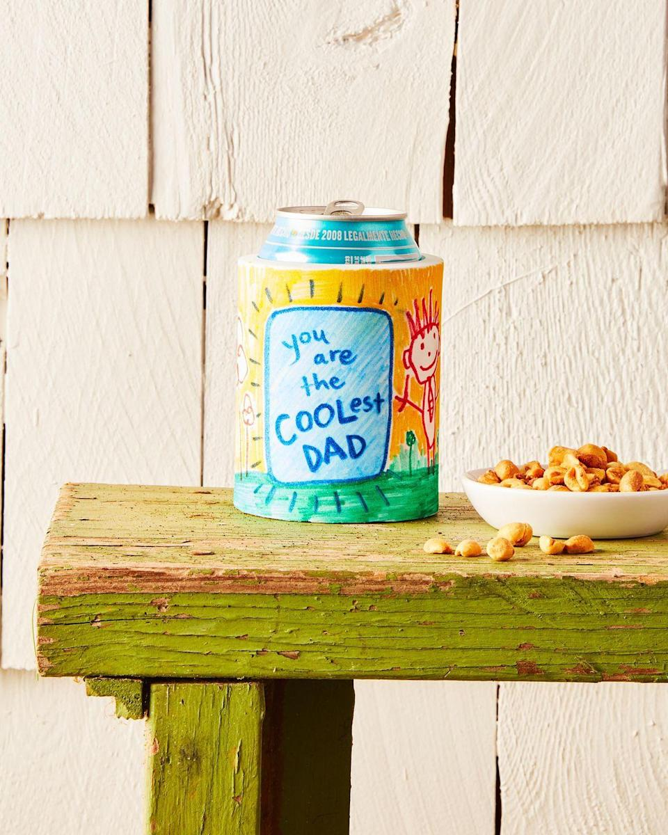 """<p>Dad will be filled with joy while sipping cans of his favorite summer chiller out of this DIY drink koozie.</p><p><strong>To make:</strong> Cut a length of craft foam that is just shorter than a can. Wrap around can and cut the length so that it just overlaps itself. Have kids draw a picture on the foam with fabric markers. Add a piece of velcro to the back to keep it closed.</p><p><a class=""""link rapid-noclick-resp"""" href=""""https://www.amazon.com/Eva-38-Cosplay-Crafting-White/dp/B08M9DJPS6/ref=sr_1_18?tag=syn-yahoo-20&ascsubtag=%5Bartid%7C10050.g.1171%5Bsrc%7Cyahoo-us"""" rel=""""nofollow noopener"""" target=""""_blank"""" data-ylk=""""slk:SHOP FOAM"""">SHOP FOAM</a></p>"""