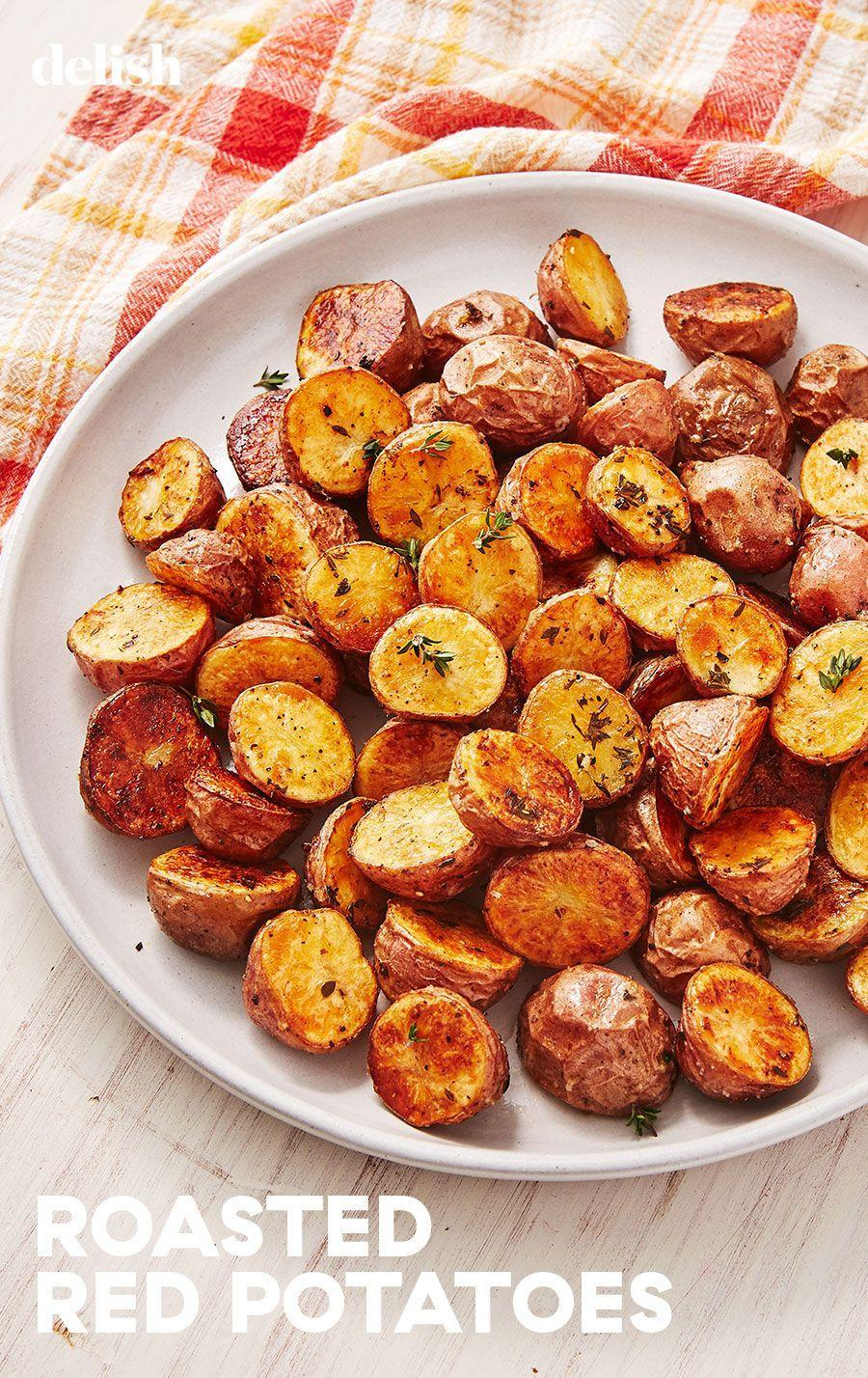 """<p>Golden and crisp potatoes are possible with this recipe.</p><p>Get the recipe from <a href=""""https://www.delish.com/cooking/recipe-ideas/a29787990/roasted-red-potatoes-recipe/"""" rel=""""nofollow noopener"""" target=""""_blank"""" data-ylk=""""slk:Delish"""" class=""""link rapid-noclick-resp"""">Delish</a>.</p>"""