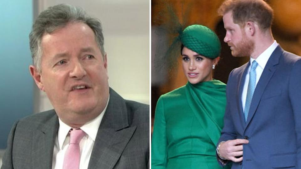 A composite image of Piers Morgan (left) and Meghan Markle and Prince Harry