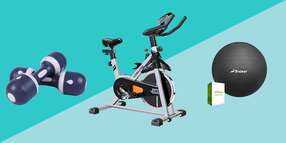 """<p>It's not just you: Home fitness gear has been incredibly hard to find since the <a href=""""https://www.prevention.com/health/a34106117/covid-19-vs-fall-allergies/"""" rel=""""nofollow noopener"""" target=""""_blank"""" data-ylk=""""slk:COVID-19 pandemic"""" class=""""link rapid-noclick-resp"""">COVID-19 pandemic</a> first hit back in March. Gym staples like free weights, <a href=""""https://www.prevention.com/fitness/workouts/g26090328/best-resistance-band-exercises/"""" rel=""""nofollow noopener"""" target=""""_blank"""" data-ylk=""""slk:resistance bands"""" class=""""link rapid-noclick-resp"""">resistance bands</a>, and barbells get snapped up as soon as they become available—and often for shockingly high prices.</p><p>But today, thanks to Amazon pulling out all the stops for <a href=""""https://www.prevention.com/beauty/a34192175/best-amazon-prime-day-beauty-deals/"""" rel=""""nofollow noopener"""" target=""""_blank"""" data-ylk=""""slk:Prime Day"""" class=""""link rapid-noclick-resp"""">Prime Day</a>, tons of fitness gear isn't only available online; it's on sale. We've rounded up the best pieces to buy right now, from exercise bikes to dumbbells, that'll help you build a home gym for less. Let's get active!</p>"""
