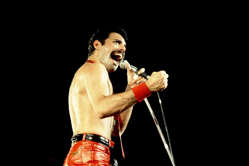 Freddie Mercury of Queen on 9/19/80 in Chicago, Il.  (Photo by Paul Natkin/WireImage)