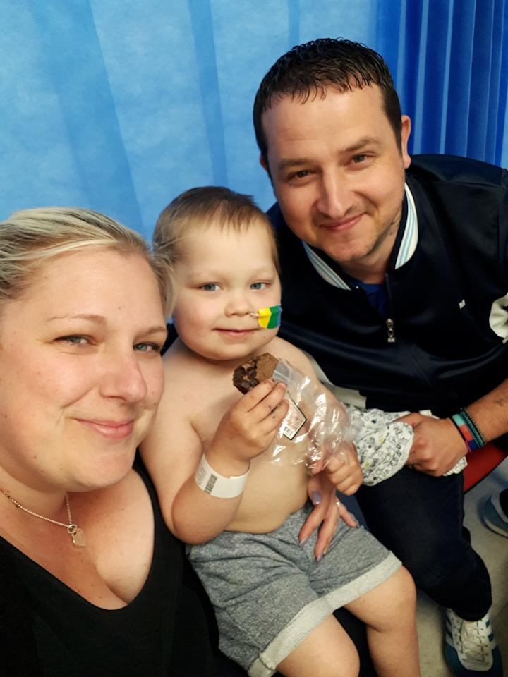 """A brave little boy who has beaten leukaemia twice in his short life has defied the odds - to start his first day of school. Mum Kirsty Knighton said there were times she had thought she would never see four-year-old son Josh Stockhill in his school uniform on his first day. Josh was first diagnosed with acute nymphoblastic leukemia at just eight months old - and his parents were told following his diagnosis that he may not make it through the night. And after nine months of """"rigorous"""" chemotherapy treatment, parents Kirsty Knighton, 36, and Craig Stockhill, 40, were dealt another blow - when they were told Josh had relapsed at just two years old. But Josh has defied the odds to start his first day at Leighton Primary School in Peterborough - a milestone which has left his parents """"emotional""""."""