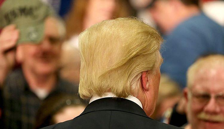 That time when the side sections of Trump's hair joined hands in solidarity as they braced for liftoff.
