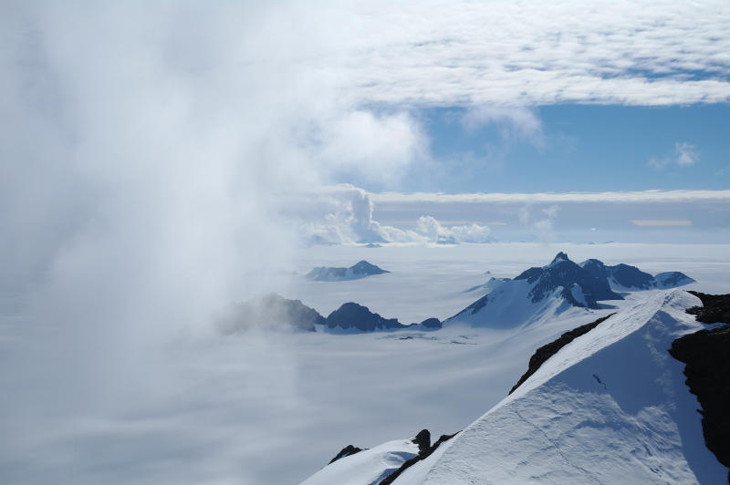 Hamish Pritchard summer clouds swirl around the Staccato Peaks of Alexander Island off the Antarctic Peninsula. In a study released Wednesday