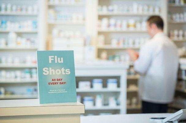 PHOTO: A sign for flu shots is pictured in pharmacy in this undated stock photo. (STOCK PHOTO/Getty Images)