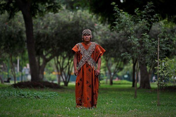 PHOTO: Herlin Odicio, leader of the Cacataibo people, poses for Efe during an interview in Lima, Peru, March 5, 2021. (Paolo Aguilar/EFE/Newscom)