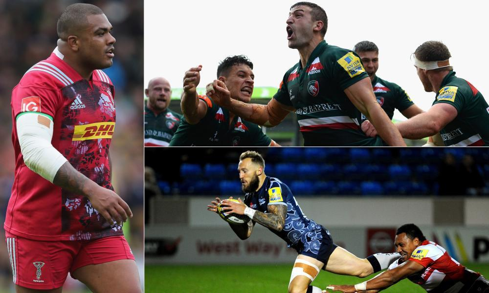 Clockwise from the left: Kyle Sinckler, Jonny May and Leicester celebrate and Sale's Byron McGuigan scores.